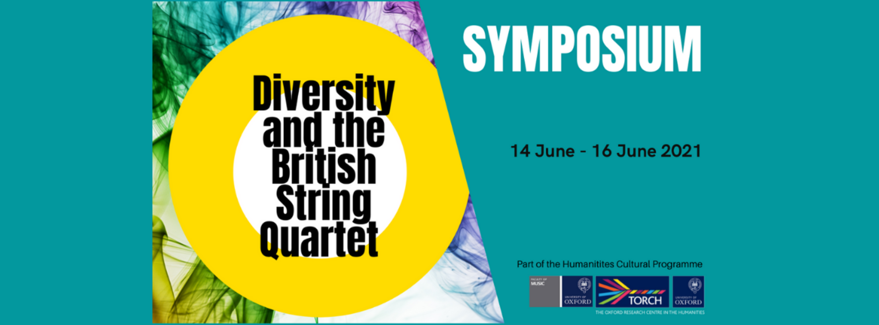 Logo for Diversity and The British String Quartet. Text in blue overlay reads 'Symposium: 14 June - 16 June. Part of the Humanities Cultural Programme'