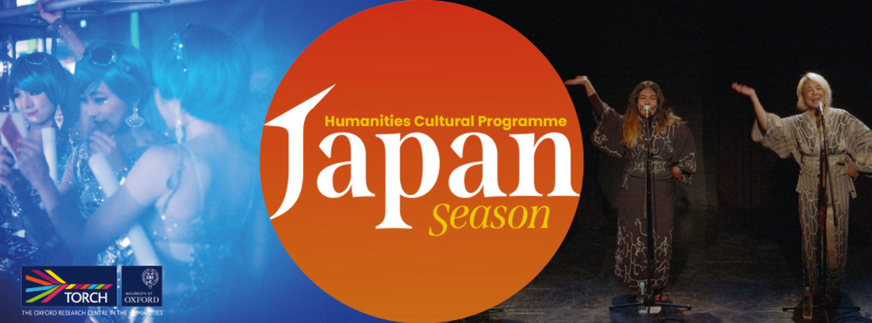 In the centre is an orange circle reading 'Japan season, Humanities Cultural Programme'. On the left is a blue tinted photo of three Japanese women in costume, and on the right is a photo of two Japanese women on stage singing.