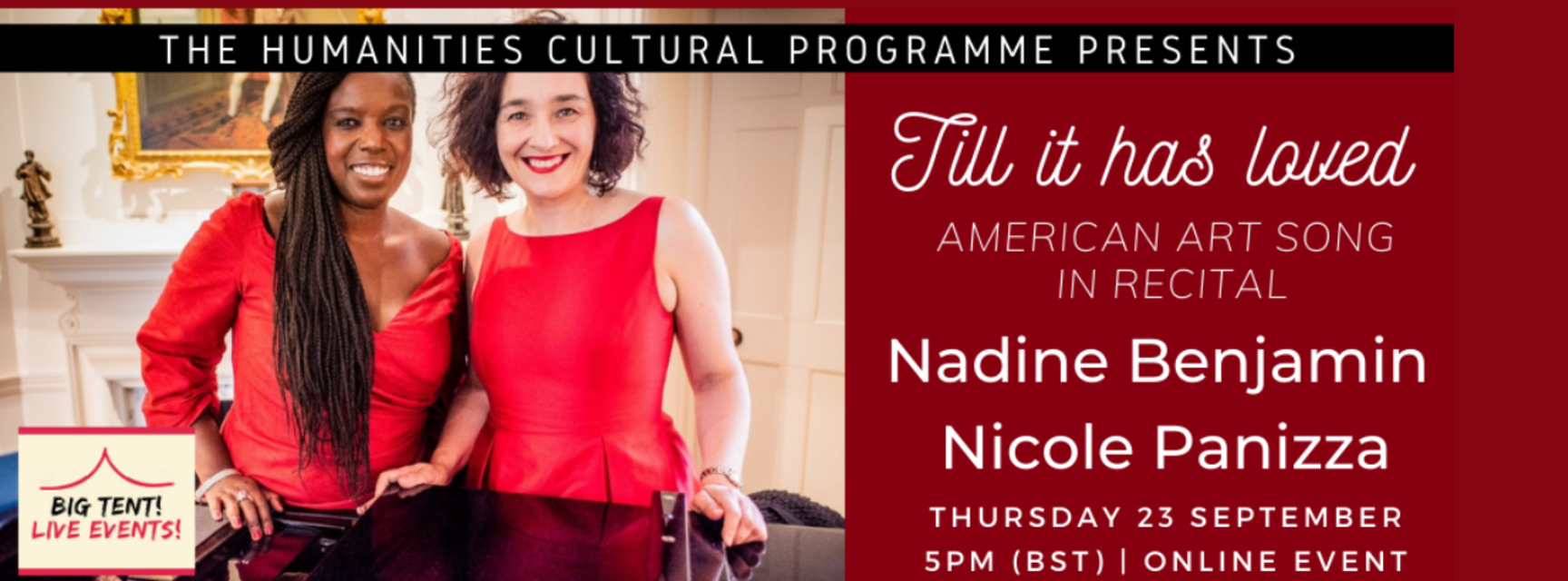 Photo of two smiling women wearing red. Text reads 'Till it has loved: American Art song in recital. Nadine Benjamin and Nicole Panizza. Thursday 23 September, 5pm BST, online event.
