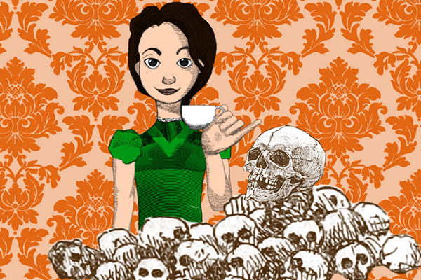 Orange patterned wallpaper, cartoon of dark-haired Alice in Wonderland with teacup and skulls