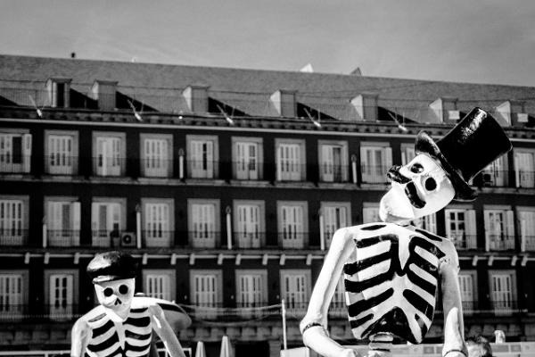 black and white bones building