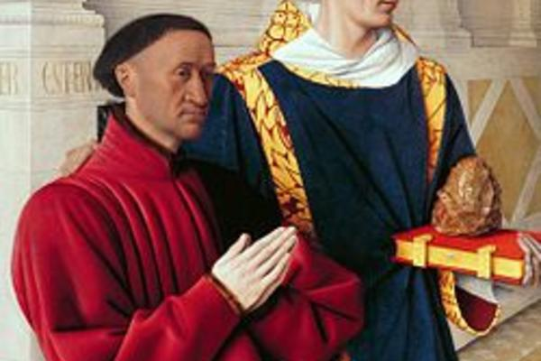 renaissance image of two men, one praying in red, one holding a book and decorative egg wearing blue