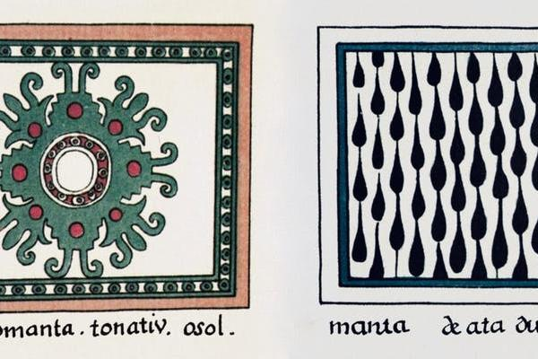Ceremonial cape designs by Mexica (Aztec) artists who created the Codex Magliabechiano in the mid-1500s. Tonatiu (left) represents the sun deity and 'ataduras' (right) depicts bindings.