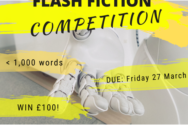 Flash Fiction Competition poster, Robot hand reaching out