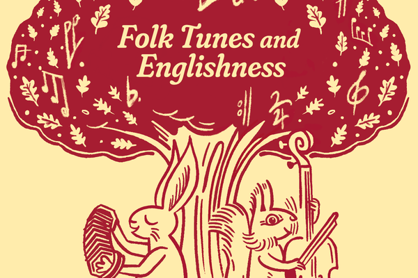 Folk Tunes and Englishness Cover Art by Simon Reid depicting a drawing of a symbolised oak tree with a hare and a squirrel sitting at the bottom of the trunk playing the accordion and the violin respectively.
