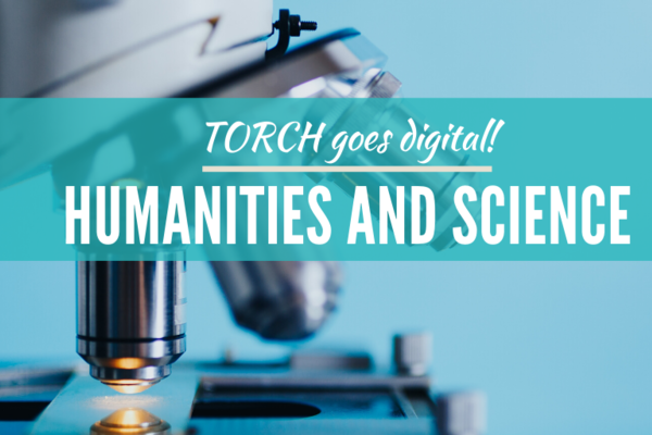 Humanities and Science Poster, blue background, close up photo of microscope