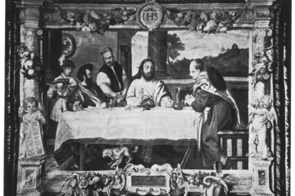 A black-and-white photograph of the tapestry depicting Jesus at a long table surrounded by four figures, with a decorative woven border featuring cherubs, fruit and medallion above Jesus' head.