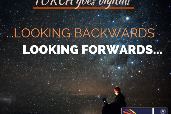 Text reads: Looking Backwards, Looking Forwards, galaxy background, person working on laptop