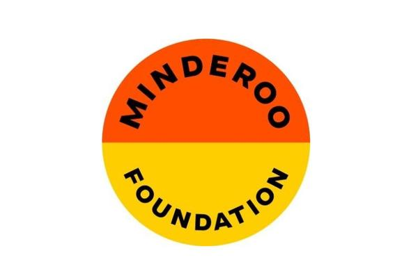 minderoo foundation logo showing a circle with top half orange, bottom half yellow, the words Minderoo Foundation bend with the circle's curve