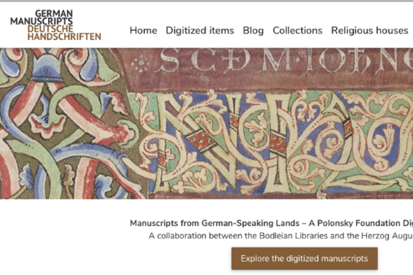 top of website for manuscripts, showing celtic designs