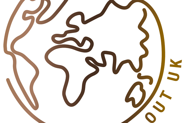 SHOUT OUT UK logo depicting a schematic drawing of the World's continents