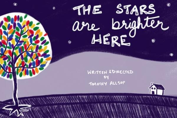the stars are brighter here poster - purple with colourful tree to the left