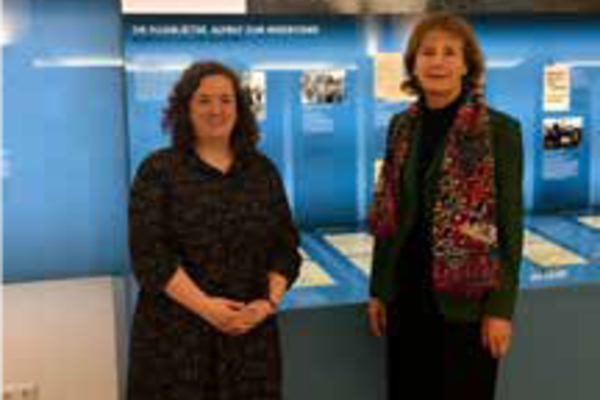 Dr Alex Lloyd (left) and Dr Hildegard Kronawitter at the White Rose Foundation's DenkStätte (permanent exhibition) in Munich, November 2019