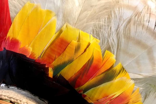 Top of a headress from south america - yellow coloured made of reeds