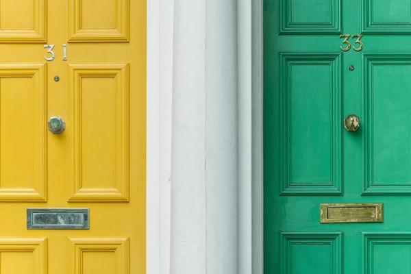 Green and yellow door