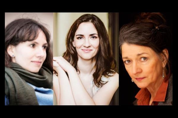 black background, 3 headshots of three woman