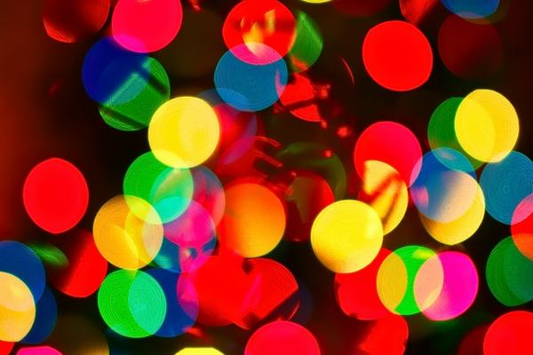 Close up image of colourful christmas lights