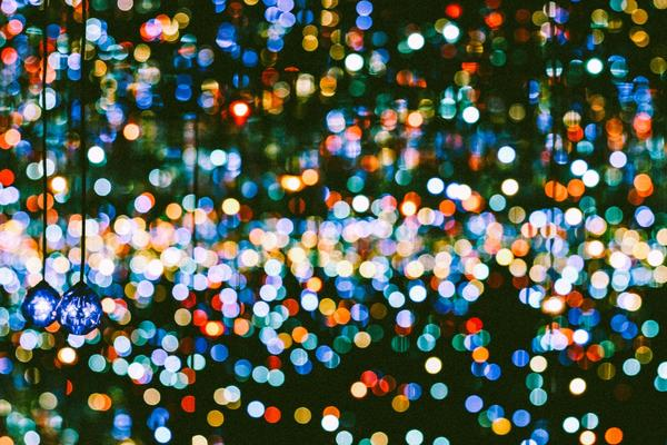 Picture of rain soaked colorful christmas lights