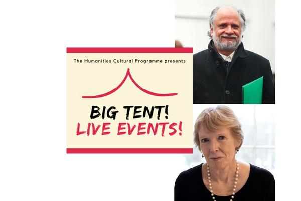 Image of Homi Bhabha and Margaret MacMillan against a white backdrop with a cream and red logo reading Big Tent Live Events!