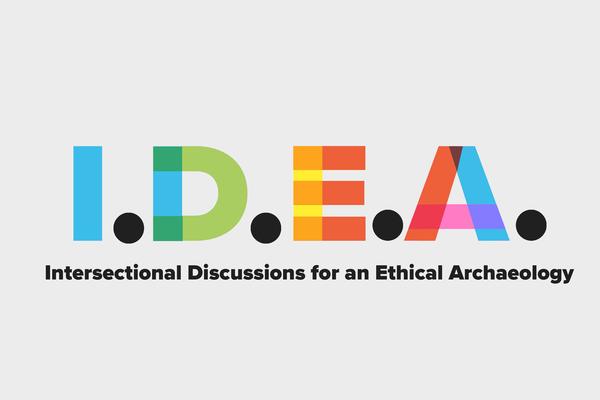 I.D.E.A logo. The Acronym stands for Intersectional Discussions for an Ethical Archaeology