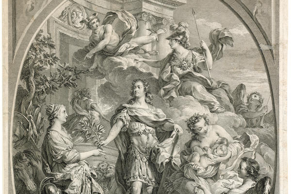 etching of Louis xv in triumph