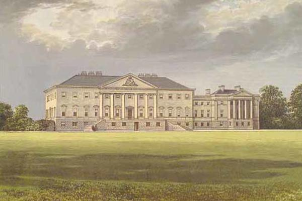 A drawing of the facade of Nostell Priory on a cloudy day