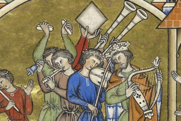 Medieval script image of a group of people playing instruments