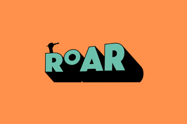The ROAR logo which is turquoise letters on an orange background with the silhouette of a hand holding a paintbrush