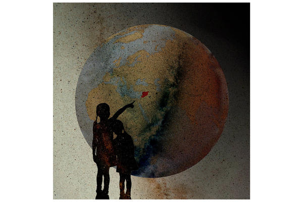 Silhouette of two children pointing Syria (highlighted in red) on a globe