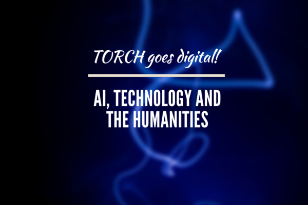 Image of AI, Technology, and the Humanities against a blue swirling background