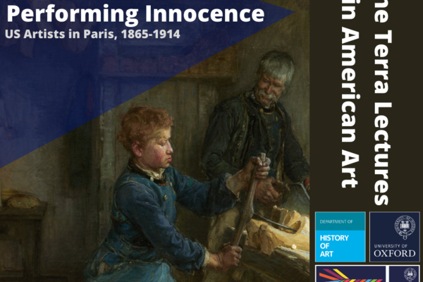 Background is a painting of a boy doing woodwork with a man looking on. Text in blue overlay reads 'performing innocence, U.S artists in paris 1865 - 1914'. Additional text reads 'The Terra Lectures in American Art'