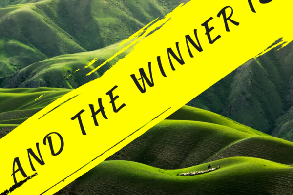 "Green landscape background, text reads ""And the Winner IS"""