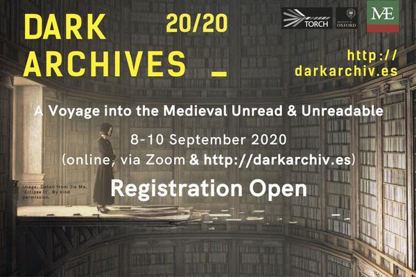 Woman looking at dark room filled with books. Writing states Registrations Open