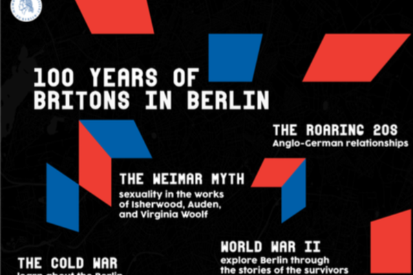 Black, blue and red poster of 100 years of Britons in Berlin