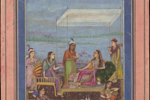 thumbnail princess entertaining on balcony mughal mid17th century met