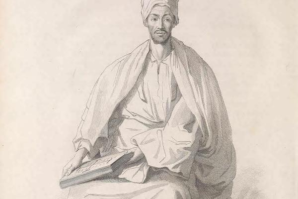 "Henry Salt, Portait of ""Dofter Esther, a Learned Abyssinian"" holding a manuscript  bound in wooden boards covered with tooled leather, 300 x 240 mm, from A Voyage to Abyssinia, and Travels Into the Interior of That Country (London : F. C. and J. Rivington"