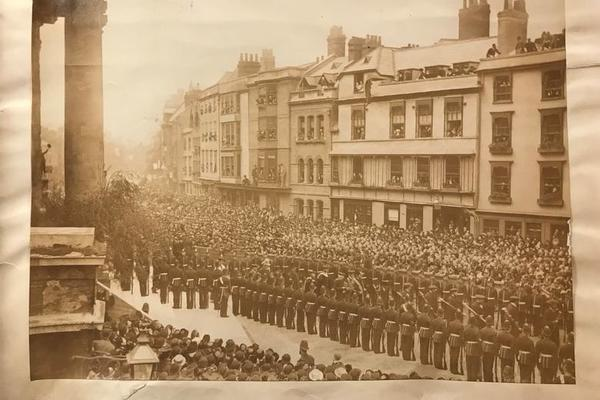 Military parade on Broad street for the opening ceremony of the Indian Institute. May 02, 1883