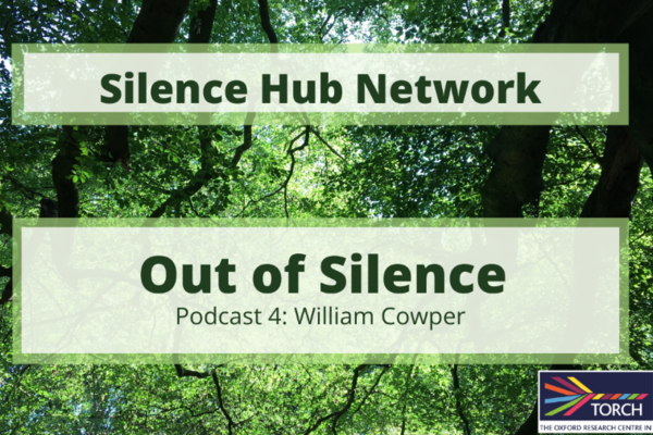 image looking up through trees and sky with title superiposed - podcast 4 william cowper