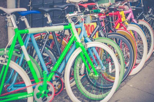 multicoloured bikes in a row