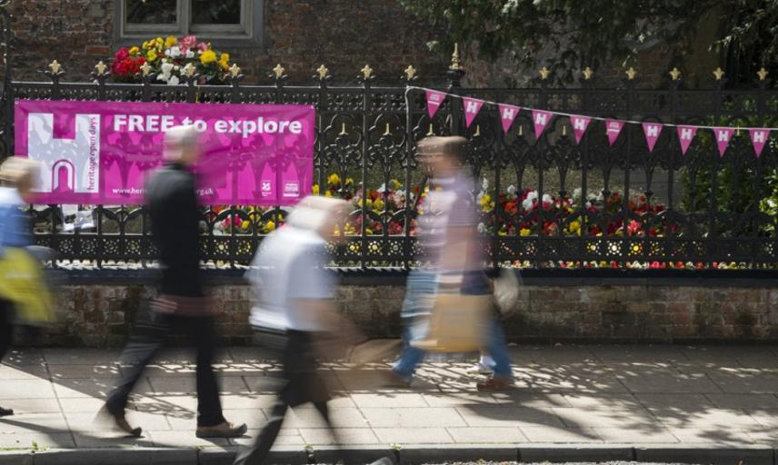 Heritage Open Days banner on the streets of Winchester, England.