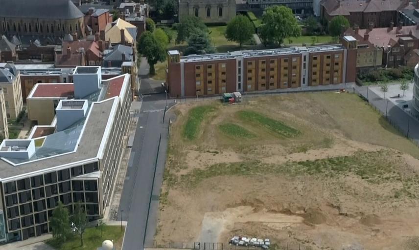 Aerial photograph of Schwarzman centre ground