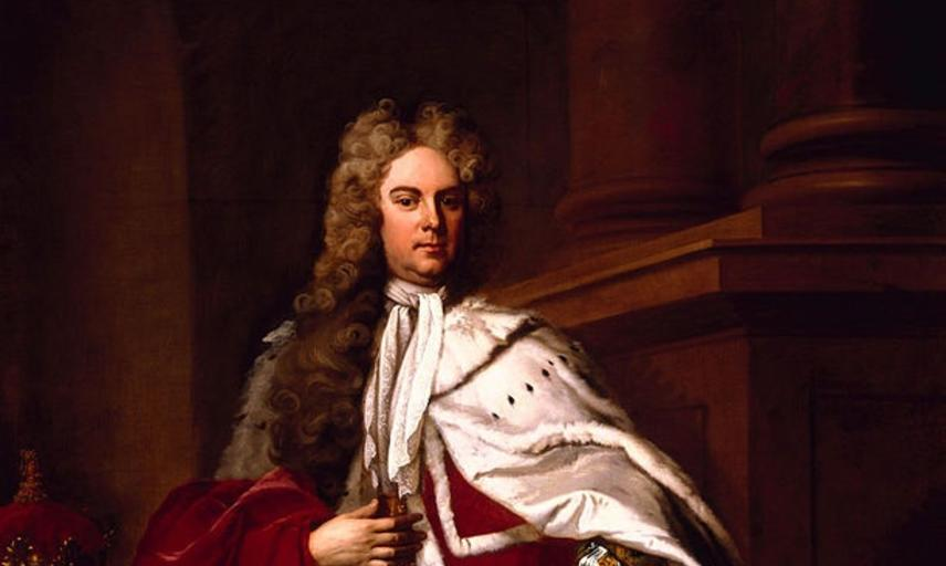 Painting of the Duke of Chandos by Michael Dahl,1719. Depicting the Duke standing, wearing gold embroidered broad cuff attire under a red coat and train or cape, with white lining (possibly hermeline).