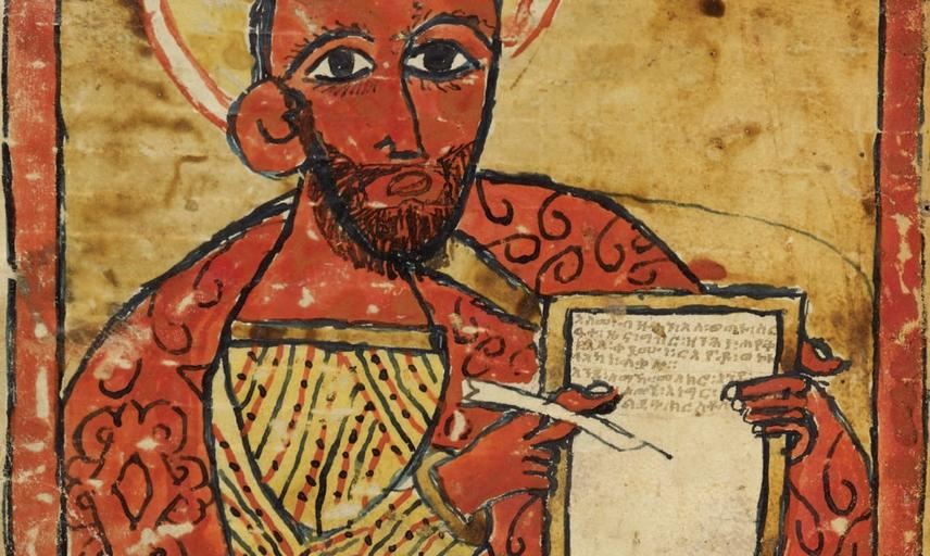 The Evangelist Luke holding a page and a pen, Four Gospels, MS Aeth. c. 2, fol. 58v (© Bodleian Library).