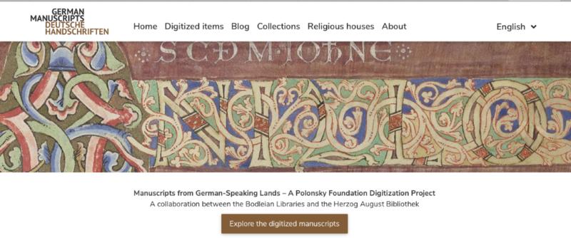 top of website for manuscripts, showing celtic designs