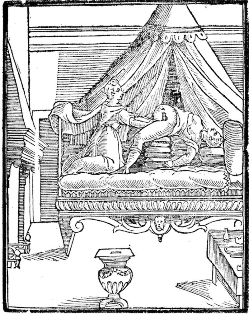 Line etching of woman giving birth on bed