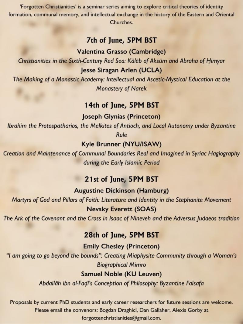 forgotten christianities seminar series schedule