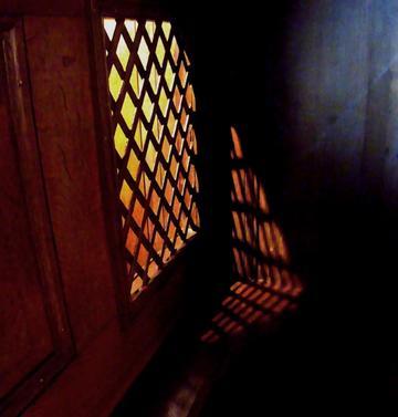 Light passing through a window blinds.