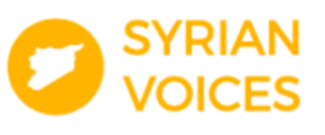 Syrian Voices logo, consisting of a yellow circle containing an outline of Syria, next to the words 'Syrian Voices'