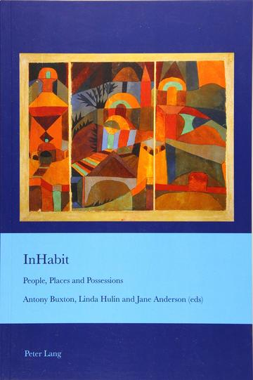 The cover of the book in blue and ciel colour. It features an abstract painting of domestic views and objects in earthy colours.