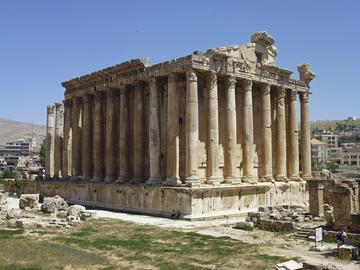 The Temple of Bacchus at Baalbek on a sunny day.